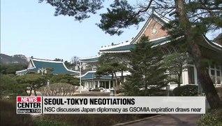 S. Korea's NSC discusses Seoul-Tokyo negotiations ahead of GSOMIA termination