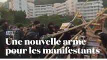 La catapulte, nouvelle arme faite maison par les manifestants à Hong Kong