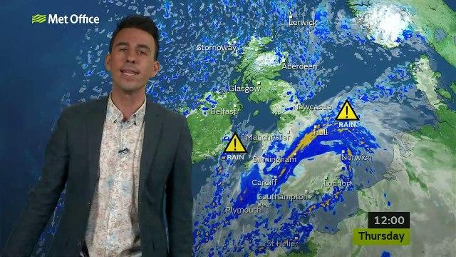 Met Office weather forecast for Thursday November 14