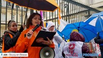 Le secteur de santé se rassemble devant l' ARS à Bourg-en-Bresse et défile vers la préfecture