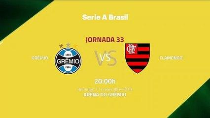 Previa partido entre Grêmio y Flamengo Jornada 33 Liga Brasileña