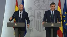 Rueda de prensa conjunta de Pedro Sánchez y Charles Michel