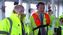 Boris Johnson drives dredger on Bristol port visit
