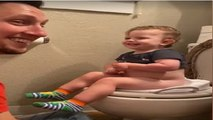 """""""I didn't poop, I peed"""", kid's funny voice has dad crying with laughter"""