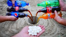 Experiment Coca Cola, Fanta, Sprite, Pepsi vs Mentos Underground. Super Reaction!