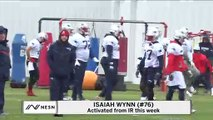 Isaiah Wynn On Practice Field After Returning From IR