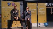 Débat sur l'autorité positive avec les éléves d'un collège de Toulouse avec Pierre Brousset, arbitre de Top 14, et Sofiane Guitoune, Joueur du Stade Toulousain