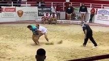 La lucha canaria más peligrosa para el árbitro