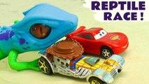Hot Wheels Reptile Challenge with Disney Pixar Cars 3 Lightning McQueen vs Toy Story 4 & Spongebob Patrick Funling Races Full Episode English