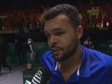 """Coupe Davis - Tsonga : """"Pour nous, c'est la même pression"""""""