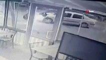 Başkentte alkollü sürücünün kuryeye çarptığı anlar kamerada