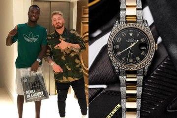 La montre en or et diamants Rolex de Nicolas Pépé