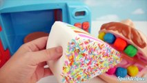 Strawberry Squishy Cake and Microwave Play Doh Bath for Children Learn Colors with Play Foam