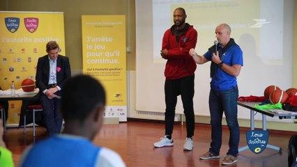 L'autorité positive en débat avec les éléves d'un collège de Saint Priest, et Freddy Lepercq, arbitre international Pro A, et  Florent Pietrus, Joueur professionnel