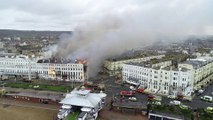 Drone footage of serious Eastbourne hotel fire