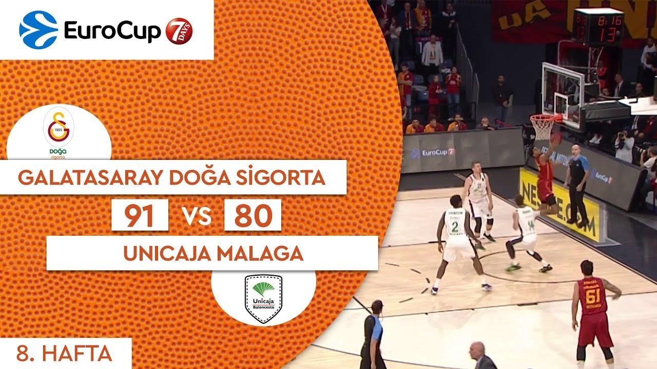 Galatasaray Doğa Sigorta 91 - 80 Unicaja Malaga | Maç Özeti - EuroCup 8. Hafta