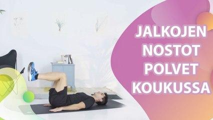 Jalkojen nostot polvet koukussa - Askel Terveyteen