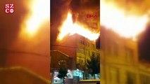 Küçükçekmece'de binanın çatısı alev alev yandı