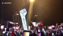 On Lebanon's Independence Day, giant protest symbol rises again after vandals burned it