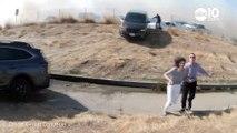 Ces voitures s'échappent de l'autoroute menacée par un incendie