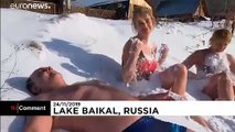 Hardy Russians take the plunge in icy Lake Baikal