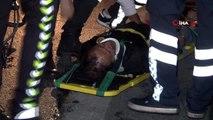Alkolü olan motosiklet sürücüsü kaza yaparak yaralandı