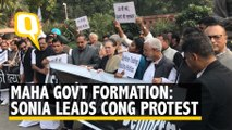 Maha Govt Formation: Sonia Gandhi Leads Protest Outside Parliament