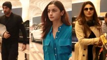 Spotted Ranbir Kapoor  Alia Bhatt and Mouni Roy at the Airport