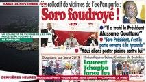 Le Titrologue du 26 novembre 2019: Soro foudroyé !!!