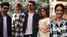 Spotted: Kartik Aaryan, Ananya Panday, Bhumi Pednekar promote their movie Pati, Patni Aur Woh