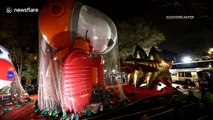 Thousands queue to watch the inflation of the balloons for the Macy's Thanksgiving Day Parade