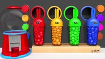 Learn Colors with Bunny Mold and Gumball Machine Animals Finger Family Song for Kids Children