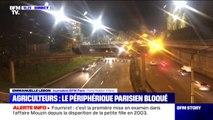 Agriculteurs: les tracteurs, toujours à l'arrêt, bloquent le périphérique parisien