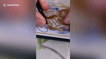 Chinese artist creates incredibly detailed cloisonne image on phone case