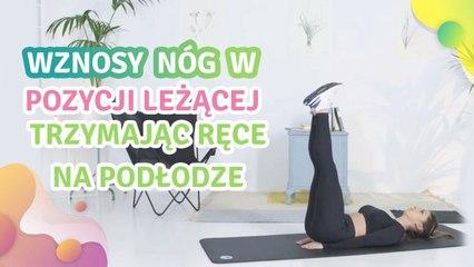 Wznosy nóg w pozycji leżącej, trzymając ręce na podłodze - Krok do Zdrowia