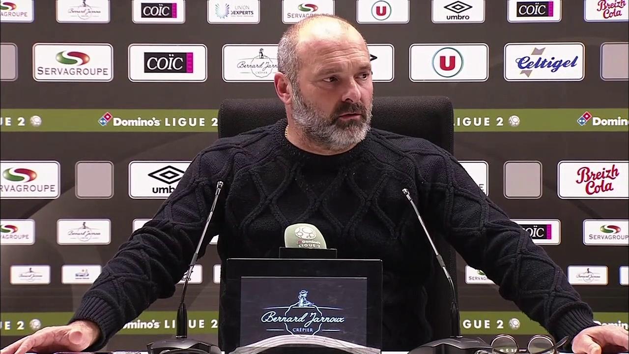 Conférence de presse de Pascal Dupraz après EA Guingamp / SMCaen