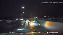State trooper jumps out of the way after vehicle loses control on ice