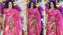 Hema Malini Arrives At Sooraj Barjatya's Son Devaansh Barjatya Wedding Reception