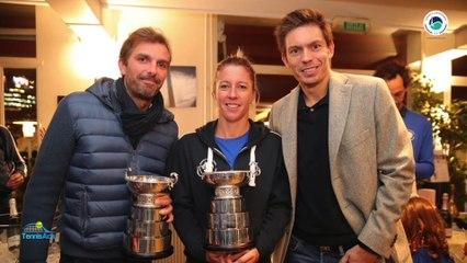 Le TC Paris en fête : sa concession, ses champions avec leur Trophée : Pauline Parmentier, Julien Benneteau et Nicolas Mahut - #GoTCP