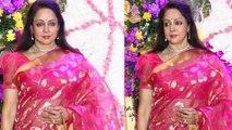 Hema Malini looks in Pink Saree at Sooraj's son Devaansh reception | Boldsky