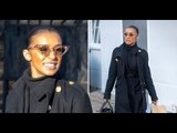 Melody Thornton nothing but smiles as she's seen following Pussycat Dolls comeback
