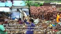 Mauer stürzt in Indien auf Häuser: Mindestens 17 Tote