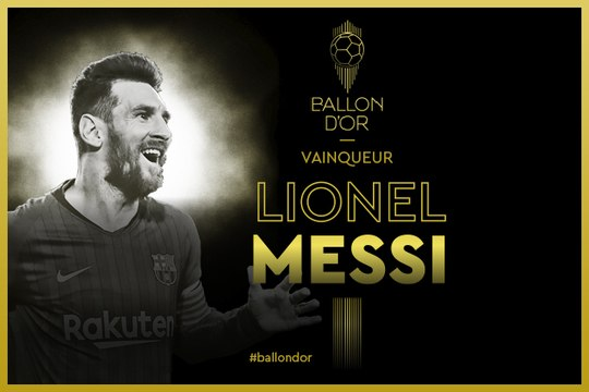 Lionel Messi (FC Barcelone) sacré pour la 6e fois - Foot - Ballon d'Or France Football 2019