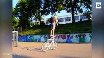 En équilibre sur son vélo, elle ne fait pas du vélo comme vous !
