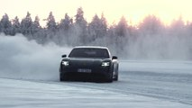 Porsche Taycan 4S in Volcano Grey Ice driving