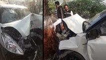 वीडियो: हाईवे से फिसली कार पेड़ से टकराई, चंद सेकेंड में उड़े परखच्चे; मां-बाप सहित मासूम की मौत