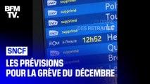 Grève du 5 décembre : les prévisions de trafic de la SNCF