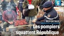 Grillades, tentes et lits de camp... les pompiers s'installent à République