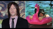 Norman Reedus couldn't be further from The Walking Dead on pink flamingo