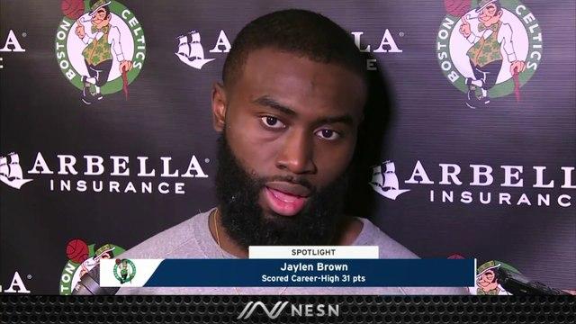 Jaylen Brown On His Kiss To Kelly Olynyk, Celtics Win vs. Heat